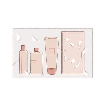 Un pack d'ensembles cosmétiques de type essai. mignon et simple