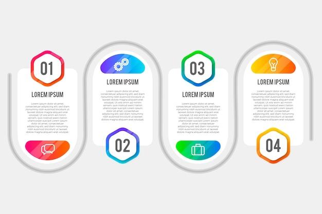 Pack d'étapes d'infographie en dégradé