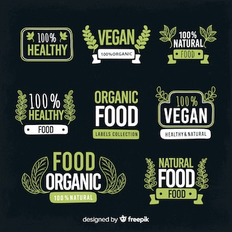 Pack d'étiquettes d'aliments biologiques simples dessinés à la main
