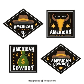 Pack d'étiquettes cowboy noir