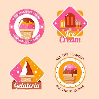 Pack d'étiquettes de crème glacée design plat