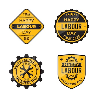 Pack d'étiquettes design plat fête du travail