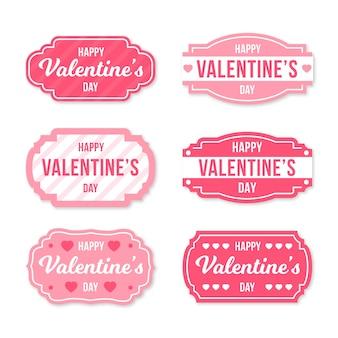 Pack d'étiquettes design plat saint valentin