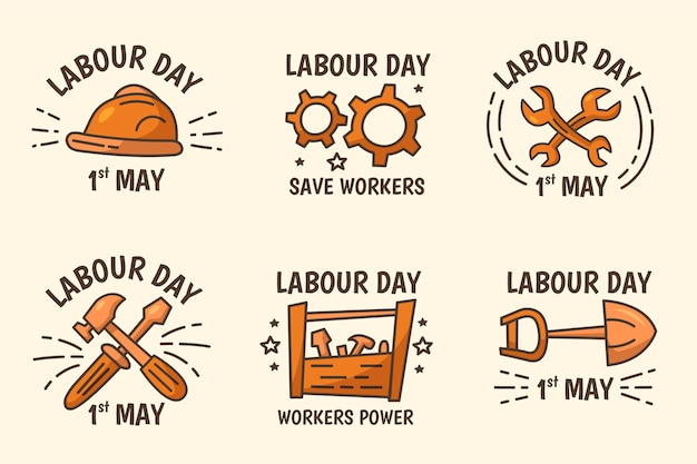 Pack d'étiquettes de fête du travail dessinés à la main