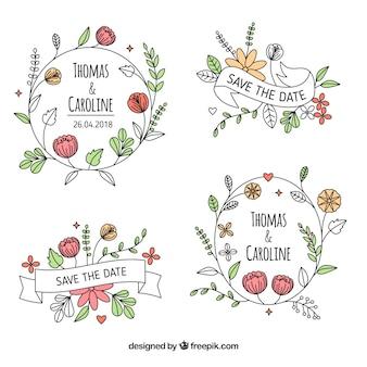 Pack d'étiquettes de mariage floral