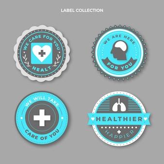 Pack d'étiquettes médicales design plat