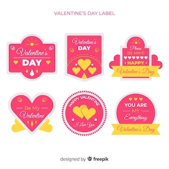 Pack d'étiquettes plates valentine
