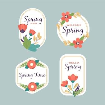 Pack d'étiquettes de printemps design plat
