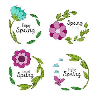 Pack d'étiquettes de printemps dessinés à la main