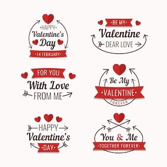 Pack d'étiquettes de la saint-valentin design plat