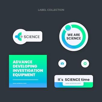 Pack d'étiquettes scientifiques design plat