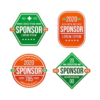 Pack D'étiquettes De Sponsor Design Plat Vecteur Premium