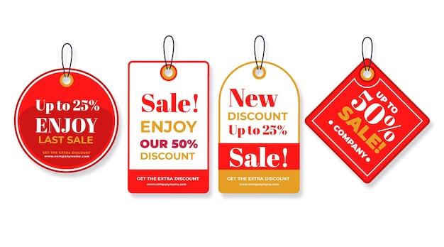 Pack d'étiquettes de vente design plat