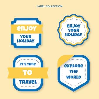 Pack d'étiquettes de voyage design plat