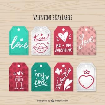 Pack fantastique des étiquettes de jour de huit valentine