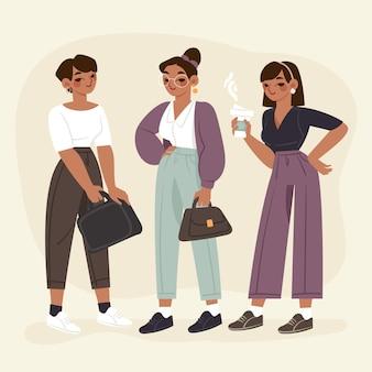 Pack de femmes entrepreneurs confiants dessinés à la main