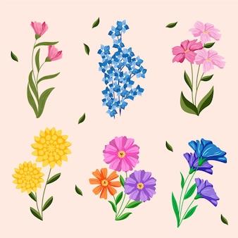 Pack de fleurs de printemps dessiné à la main