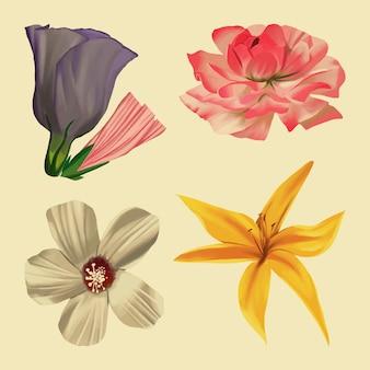 Pack de fleurs de printemps vintage
