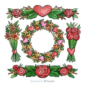 Pack de fleurs de saint valentin dessinées à la main