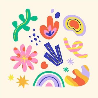Pack de formes abstraites colorées dessinées à la main