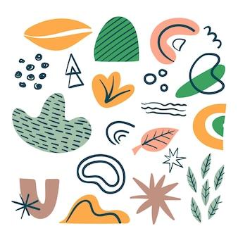 Pack de formes colorées abstraites dessinées à la main