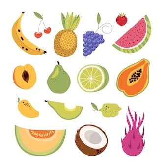 Pack de fruits délicieux plat