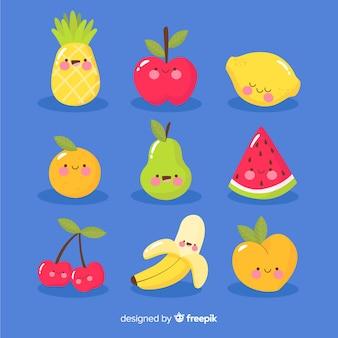 Pack de fruits kawaii dessinés à la main