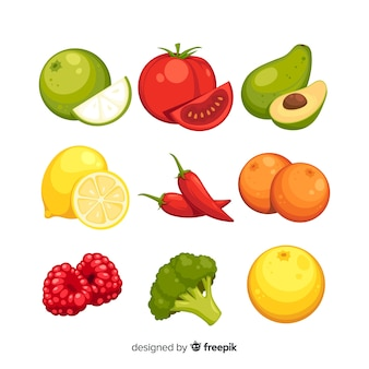 Pack de fruits et légumes colorés dessinés à la main
