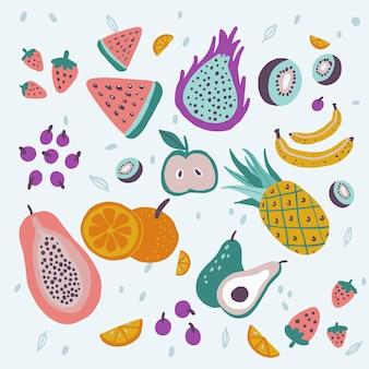 Pack de fruits savoureux plat