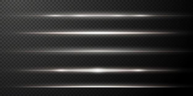 Pack de fusées éclairantes horizontales blanches faisceaux laser rayons lumineux horizontaux belles fusées lumineuses png