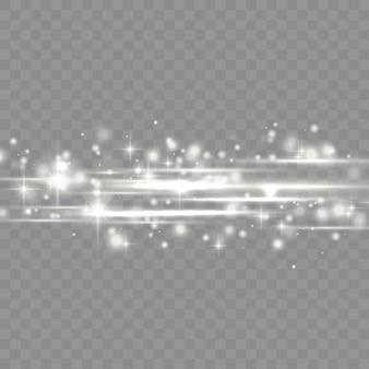 Pack de fusées éclairantes horizontales blanches flash, faisceaux laser, rayons lumineux horizontaux, belle lumière parasite, ligne blanche lueur, éblouissement or brillant, illustration vectorielle