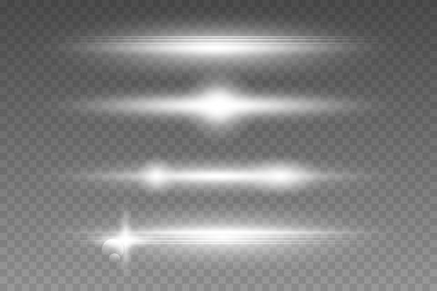 Pack de fusées éclairantes horizontales blanches sur fond transparent.