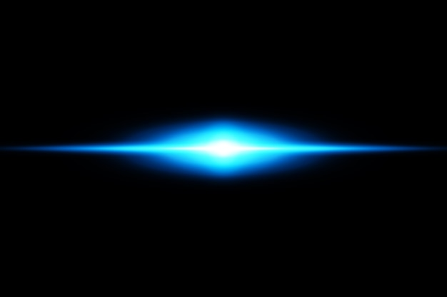 Pack de fusées éclairantes horizontales bleues. faisceaux laser, rayons lumineux horizontaux belles fusées lumineuses.