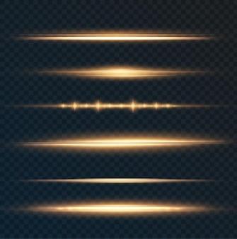Pack de fusées éclairantes horizontales dorées faisceaux laser rayons lumineux horizontaux belles fusées lumineuses