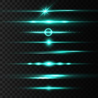 Pack de fusées éclairantes horizontales, faisceaux laser, belle lumière parasite. rayons de lumière. ligne lueur sur fond transparent.