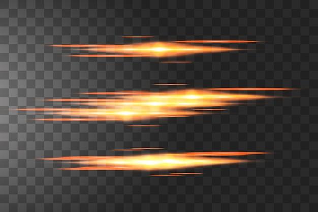 Pack de fusées éclairantes horizontales golden. faisceaux laser, rayons lumineux horizontaux belles fusées lumineuses.