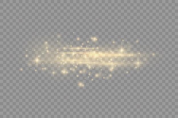 Pack de fusées éclairantes horizontales jaune flash, faisceaux laser, rayons lumineux horizontaux, belle lumière parasite, ligne jaune lueur, éblouissement or brillant, illustration vectorielle