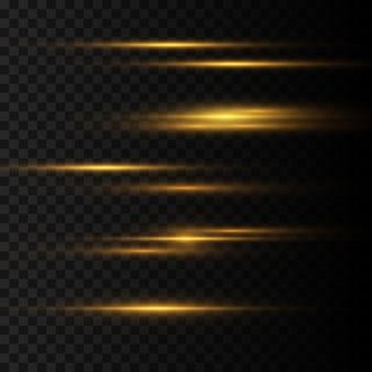 Pack de fusées éclairantes horizontales jaunes. faisceaux laser, rayons lumineux horizontaux. belles fusées lumineuses. rayures brillantes sur fond transparent. fond rayé étincelant abstrait lumineux.