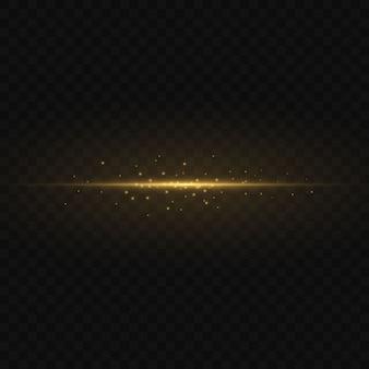 Pack de fusées éclairantes horizontales jaunes. faisceaux laser, rayons lumineux horizontaux. belles fusées lumineuses. rayures rougeoyantes sur l'obscurité. résumé lumineux étincelant doublé.