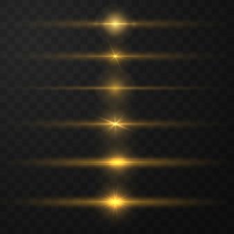 Pack de fusées éclairantes horizontales jaunes. une lumière rougeoyante explose. lignes scintillantes lumineuses.