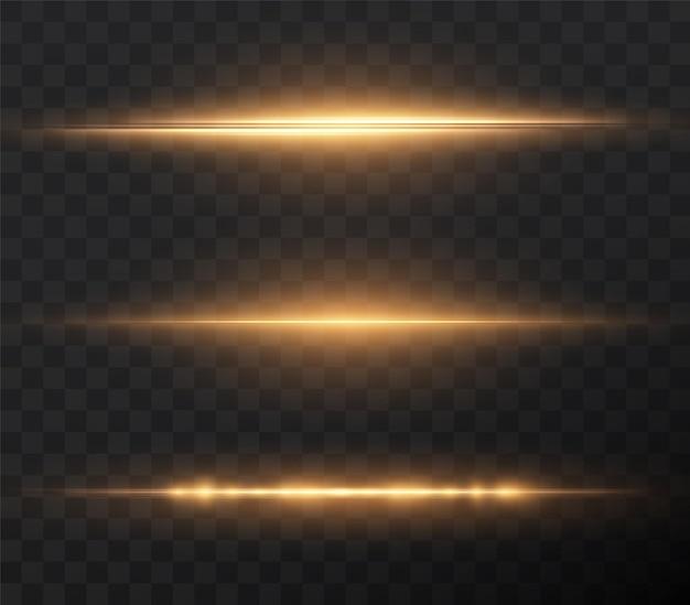 Pack de fusées éclairantes horizontales en or faisceaux laser rayons lumineux horizontaux effet png or clair