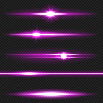 Pack de fusées éclairantes horizontales violettes. rayons laser, rayons lumineux horizontaux.