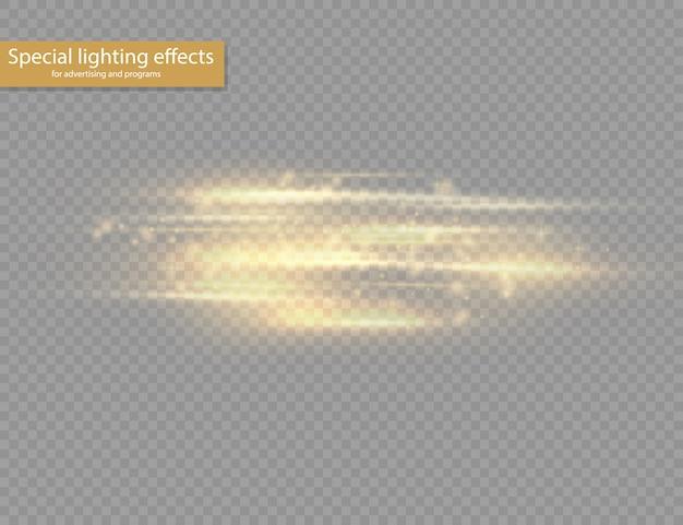 Pack de fusées éclairantes à lentille horizontale jaune flash, faisceaux laser, rayons de lumière horizontaux, belle lumière parasite, ligne jaune luisante sur fond transparent, éblouissement or brillant.