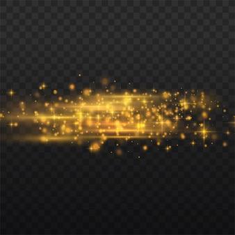 Pack de fusées éclairantes à lentille horizontale jaune flash, faisceaux laser, rayons de lumière horizontaux, belle lumière parasite, ligne jaune luisante sur fond transparent, éblouissement or brillant,