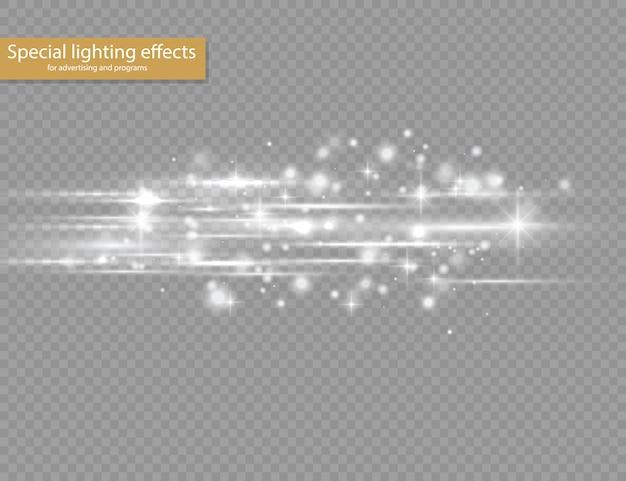 Pack de fusées éclairantes à lentilles horizontales blanches, faisceaux laser, rayons lumineux horizontaux, belle lumière parasite, ligne blanche brillante sur fond transparent, éblouissement or brillant.