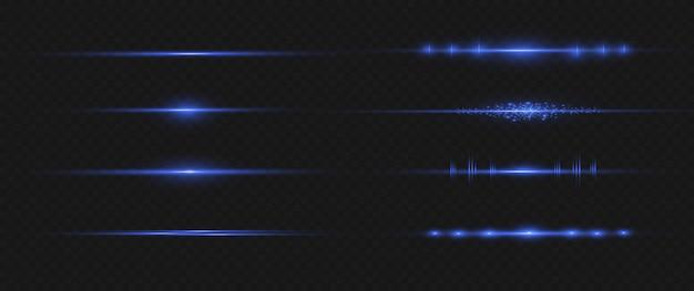 Pack de fusées éclairantes à lentilles horizontales bleues. faisceaux laser, rayons lumineux horizontaux.