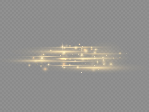 Pack de fusées éclairantes pour lentilles horizontales jaune flash, faisceaux laser, rayons lumineux horizontaux, belle lumière parasite, ligne jaune luisante sur fond transparent, éblouissement or brillant