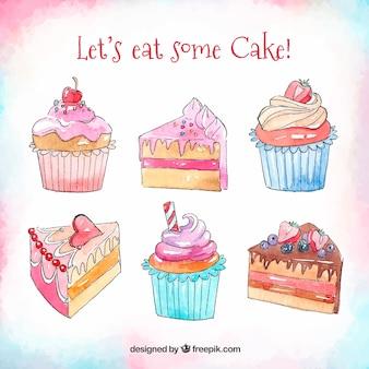 Pack de gâteaux d'anniversaire aquarelles