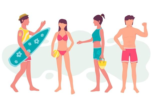 Pack de gens de plage design plat