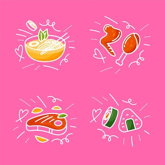 Pack de griffonnages alimentaires dessinés à la main